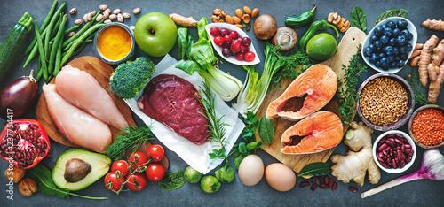 Leinwanddruck Bild Balanced diet food background