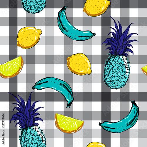 Beautiful summer fruits banana , pineapple,lemon on monotone check seamless pattern vector - 237755044