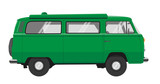 a green VW bus with many details