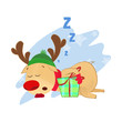 Reindeer sleeping with Christmas present. Cartoon, dreaming, gift. Can be used for topics like animal, holiday, North Pole