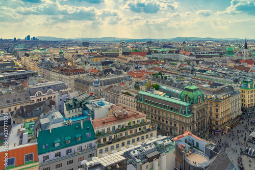 Panoramic view cityscape of Vienna in Summer from the stephansdom cathedral, Austria