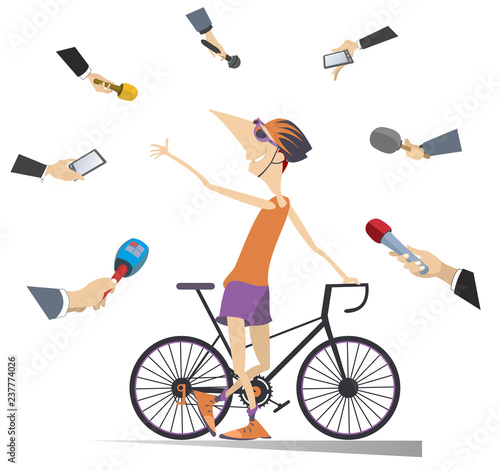 Mass media obtain an interview from the cyclist illustration. Reporters interview a smiling and proud cyclist isolated on white illustration