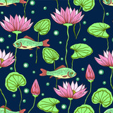 Seamless pattern with fishes and lotus flowers