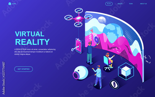 Modern flat design isometric concept of Virtual Augmented Reality decorated people character for website and mobile website development. Isometric landing page template. Vector illustration.