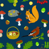 Cute seamless pattern with birds, squirrel, eagle, mushrooms, nuts, berries