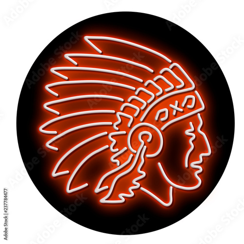 Retro style illustration showing a 1990s glowing neon sign light signage lighting of a Native American Indian chief wearing headdress viewed from side set in circle on black background.