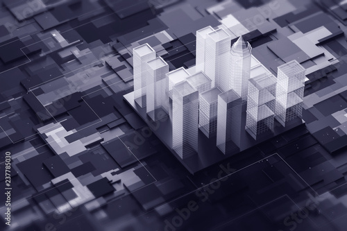 Gray city model on motherboard - 237785030