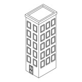 Company building isometric black and white - 237788090