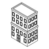 Company building isometric black and white - 237788218