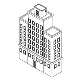Company building isometric black and white - 237788242