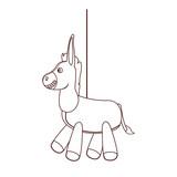 Donkey pinata cartoon in black and white