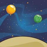 Universe scenery cartoon