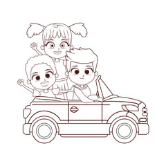 three kids driving car