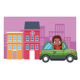 cartoon boy drivingcar