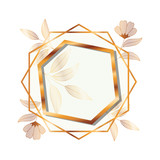 frame golden with flowers isolated icon