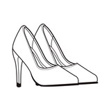 high heels shoes black and white - 237815838
