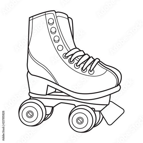 retro roller skates black and white