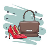 woman stylish handbag cartoon - 237816092