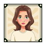 young woman face cartoon - 237818625