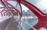 View of a pedestrian bridge over the Bow River in Calgary.