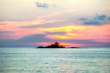Tropical sunset. Vacation, holiday summer background.