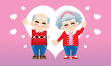 A senior oriental couple with winter costume and a love background. - 237829640