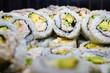 Bowl of California roll sushi with surimi imitation crab and avocado