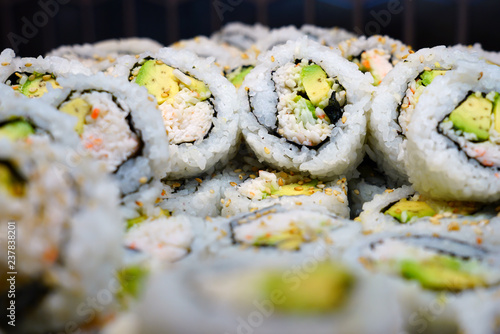 Bowl of California roll sushi with surimi imitation crab and avocado