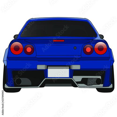 blaues Auto mit Bodykit