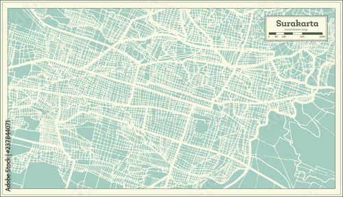 Surakarta Indonesia City Map in Retro Style. Outline Map.   Buy ...
