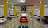 Smart Parking lot Guidance System with Overhead Indicators, Intelligent sensors assist control/monitor, Efficient management, 3D Rendering