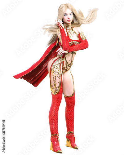 Warrior amazon woman in red raincoat and boots. Long blonde hair. Muscular  athletic body 7e7d32a01