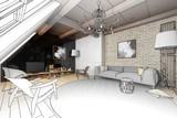 Wohnzimmer in der Mansarde (Planung)