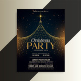 merry christmas tree party flyer card template