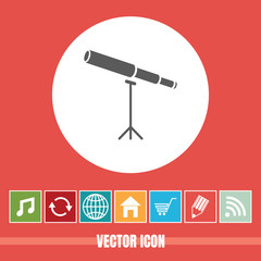 very Useful Vector Icon Of Telescope with Bonus Icons Very Useful For Mobile App, Software & Web