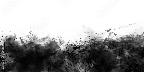 Abstract Black And White Watercolor border - 237855652