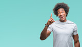 Afro american man over isolated background pointing finger up with successful idea. Exited and happy. Number one. - 237859228