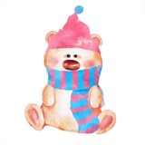 Cartoon Teddy Bear toy in hat and scarf. Watercolor style