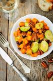 Roasted brussels sprouts honey pumpkin pecan salad