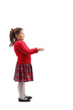 Little girl gesturing with her hands as to recieve something - 237894891