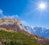 mountain valley under a sparkle sun