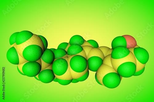Leinwanddruck Bild Molecular model of vitamin D3, cholecalciferol. Healthy life concept. Scientific background. 3d illustration