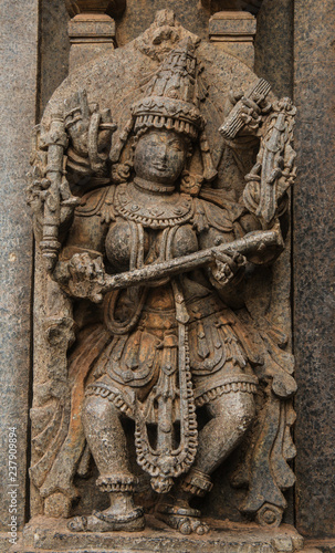 Artistic stone sculptures and carvings of hindu goddesses and goda