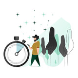 Vector illustration in a flat style. A man with a beard walks down the street with a smartphone, not noticing the time spent. A large image of a stopwatch.