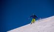 Skier having fun while running downhill