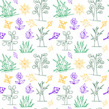 Vector seamless pattern with trees, flowers, leaves and grass, multicolor, elements from simple geometric shapes - 237937211