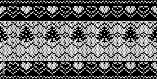 Vector black and white knitted seamless pattern in Scandinavian style