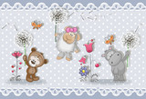 Fototapeta Pokój dzieciecy - 3d wallpaper,  cute baby background with little animals . Greeting card. Pastel background © DiVNA