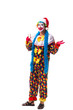 Young funny clown comedian isolated on white