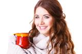 Woman holding red tea coffee mug - 237967851